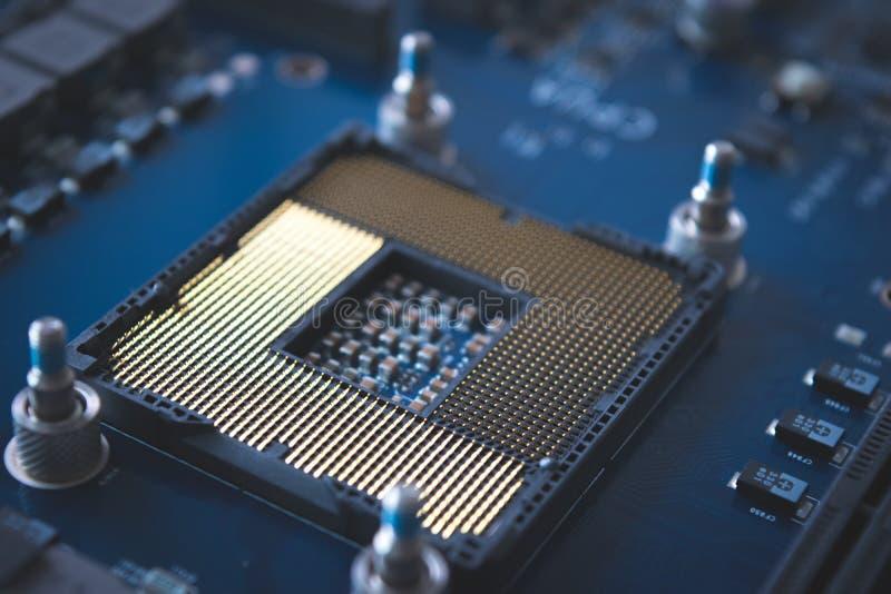 Technologieachtergrond met de halfgeleiderproces van de computerserver stock afbeelding