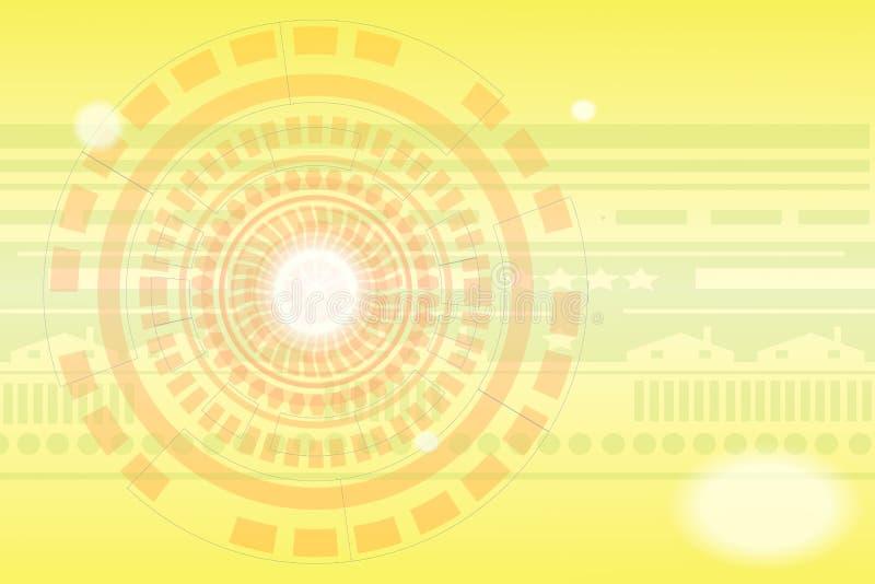Technologieachtergrond met gouden kleuren stock illustratie