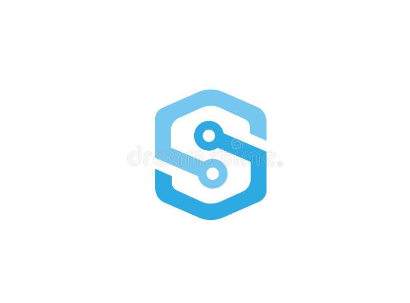 Technologiealfabet S voor de illustratie van het embleemontwerp royalty-vrije illustratie
