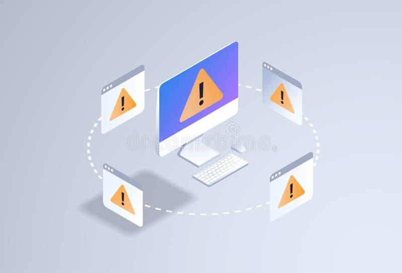 Technologieausrufezeichenikonen-PC-Bildschirm des ProblemComputeranwendungs-Software-Fehlerkonzeptes 3d isometrischer stock abbildung