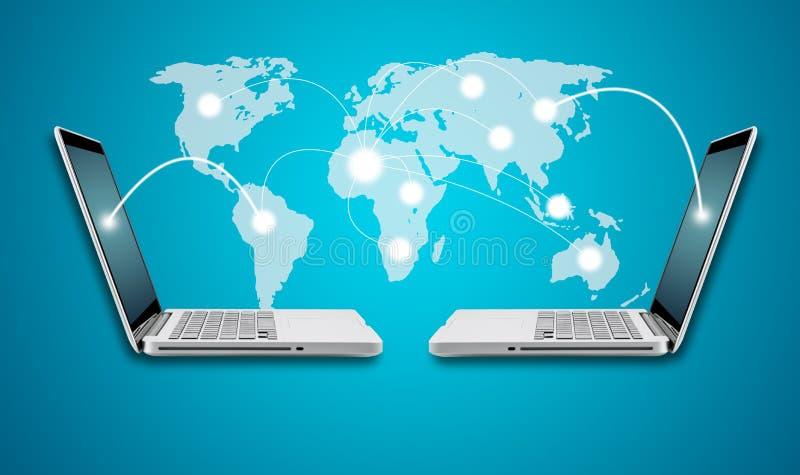 Technologiecomputerlaptop- und -vernetzungskonzept mit Karte stock abbildung