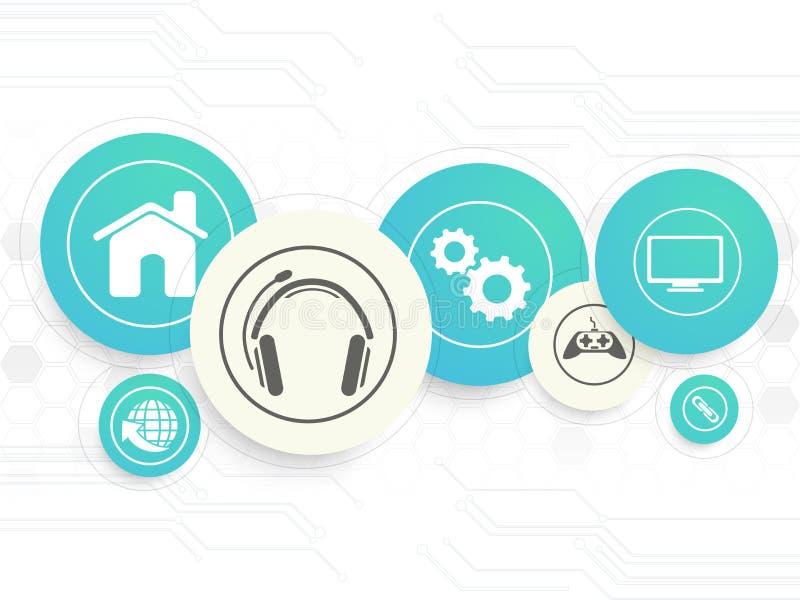 Technologieconcept met Webpictogrammen stock illustratie