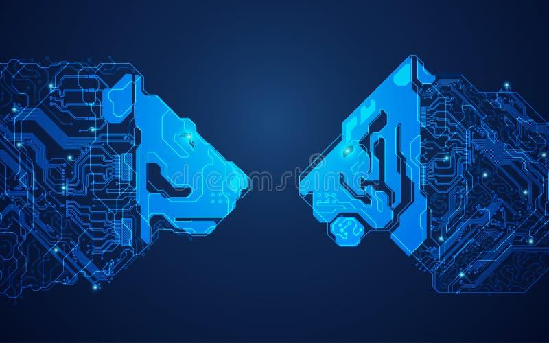 Technologieconfrontatie royalty-vrije illustratie