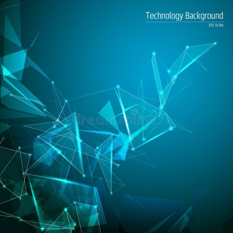 Technologiedreieck, -linie und -punkt vector Konzept Abstrakter futuristischer dreieckiger Hintergrund lizenzfreie abbildung