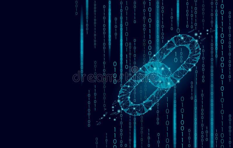 Technologiee-commerce-Geschäftsführung Blockchain-cryptocurrencies globalen Netzwerks Gliederketteinternet niedrig Poly stock abbildung