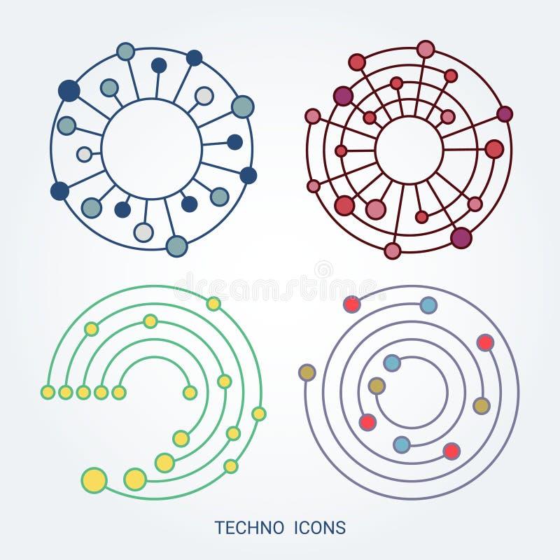 Technologieembleem, computer en gegevens verwante zaken, hi-tech en innovatief stock illustratie