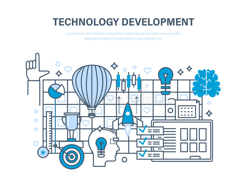 Technologieentwicklung Start, kreative, moderne Informationstechnologie, Geschäftsprozesse lizenzfreie abbildung