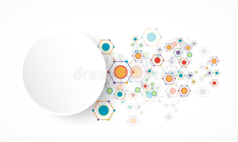 Technologiehintergrund des Netzes sechseckiger Farb vektor abbildung