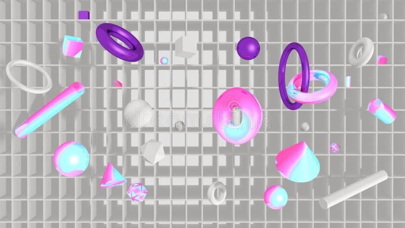 Technologiehintergrund mit Regalen und Geometrie 3D lizenzfreie abbildung