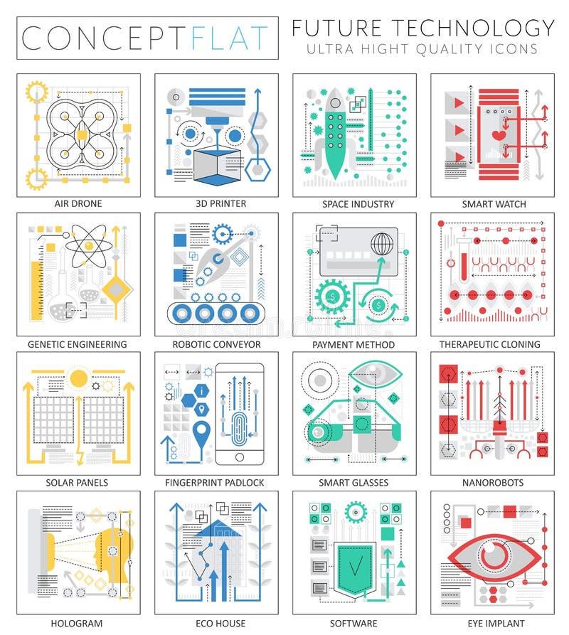 Technologieikonen Minikonzeptes Infographics zukünftige für Netz lizenzfreie abbildung