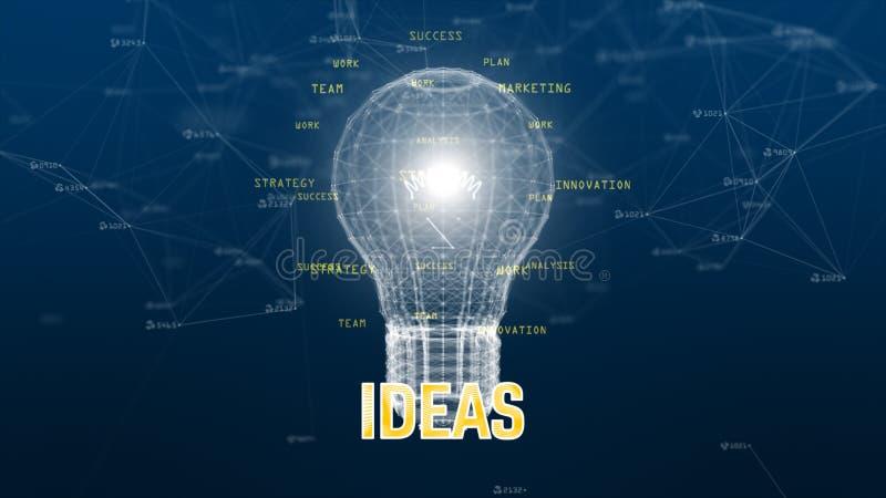 Technologieinformatienet met digitale lamp op blauw creatief idee als achtergrond stock illustratie