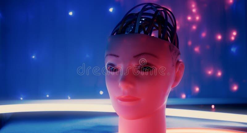 Technologieinnovationen der künstlichen Intelligenz der Robotik neue, furchtsames Robotergesicht stockbild