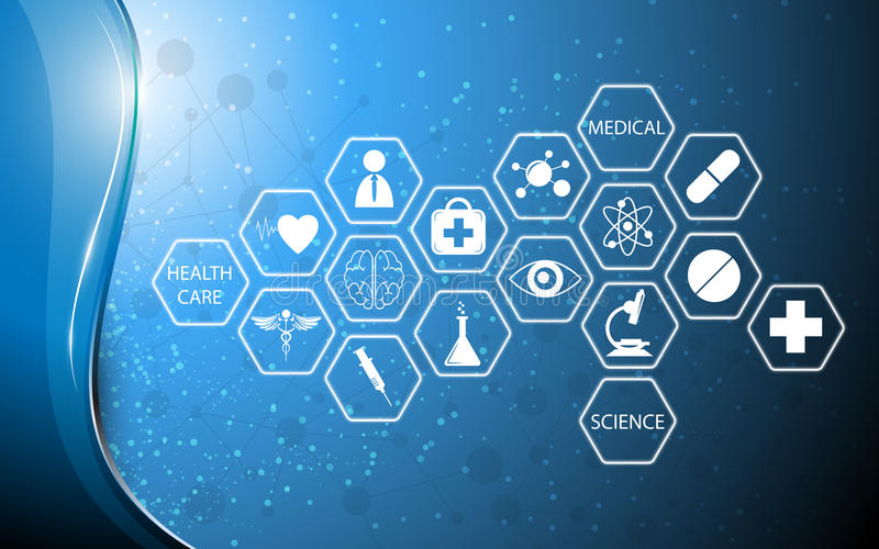 Technologieinnovations-Konzepthintergrund der Ikone medizinischer lizenzfreie abbildung