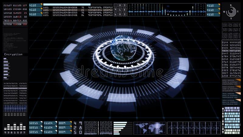Technologiekommunikation und -verbindung mit futuristischem Benutzerschnittstellenkopf herauf Anzeige Erdelement geliefert von de stock abbildung