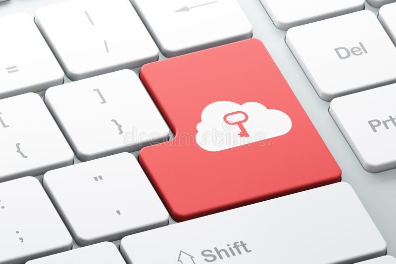 Technologiekonzept: Wolke Whis-Schlüssel auf Computertastaturba lizenzfreie stockbilder