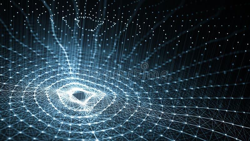 Technologiekunstmatige intelligentie AI en Internet van dingeniot concept royalty-vrije illustratie