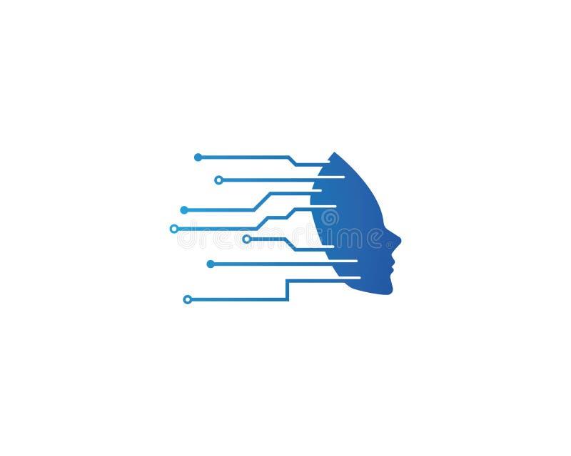 Technologielogovektor des menschlichen Gesichtes stock abbildung