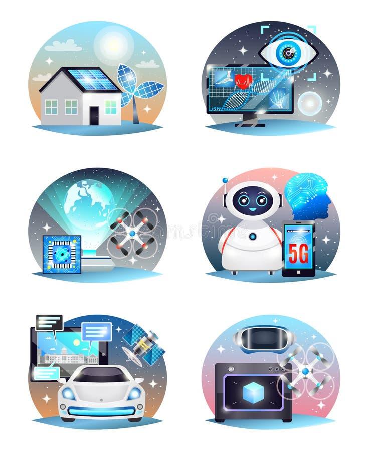 Technologien von den zukünftigen Zusammensetzungen eingestellt lizenzfreie abbildung