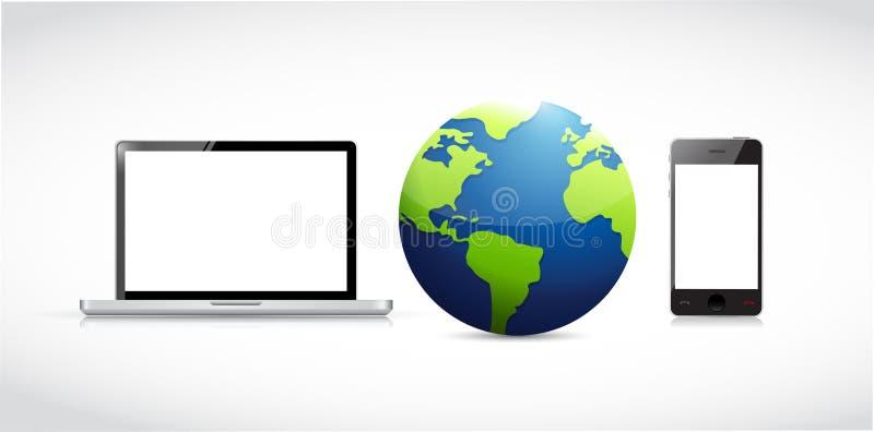 technologienetwerk rond de bol stock illustratie