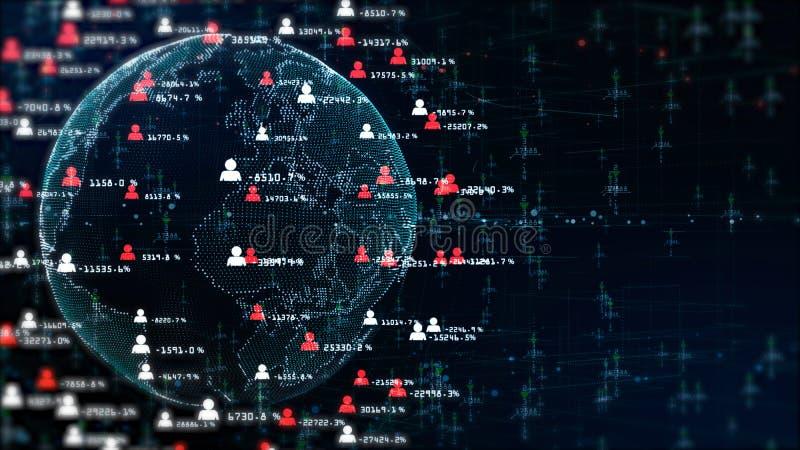 Technologienetwerk voor Internet die holografische informatie op de markt brengen stock foto