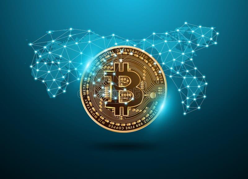 Technologienetz digitaler Währung Bitcoin futuristisches mit Weltkarte stock abbildung