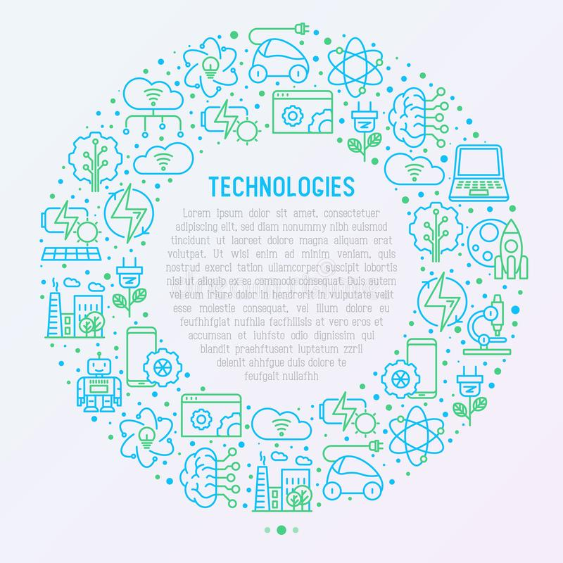 Technologies concept in circle. With thin line icons of: electric car, rocket, robotics, solar battery, machine intelligence, web development. Vector royalty free illustration
