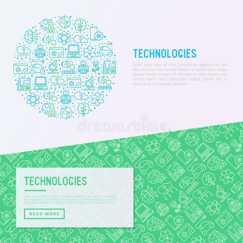 Technologies concept in circle. With thin line icons of: electric car, rocket, robotics, solar battery, machine intelligence, web development. Vector stock illustration