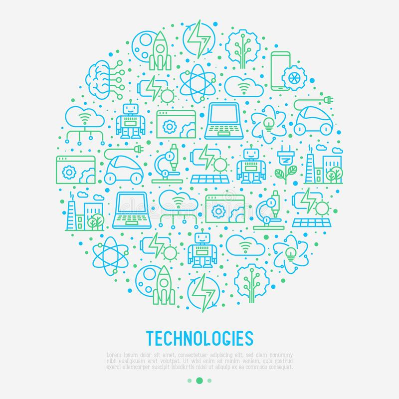 Technologies concept in circle. With thin line icons of: electric car, rocket, robotics, solar battery, machine intelligence, web development. Vector vector illustration