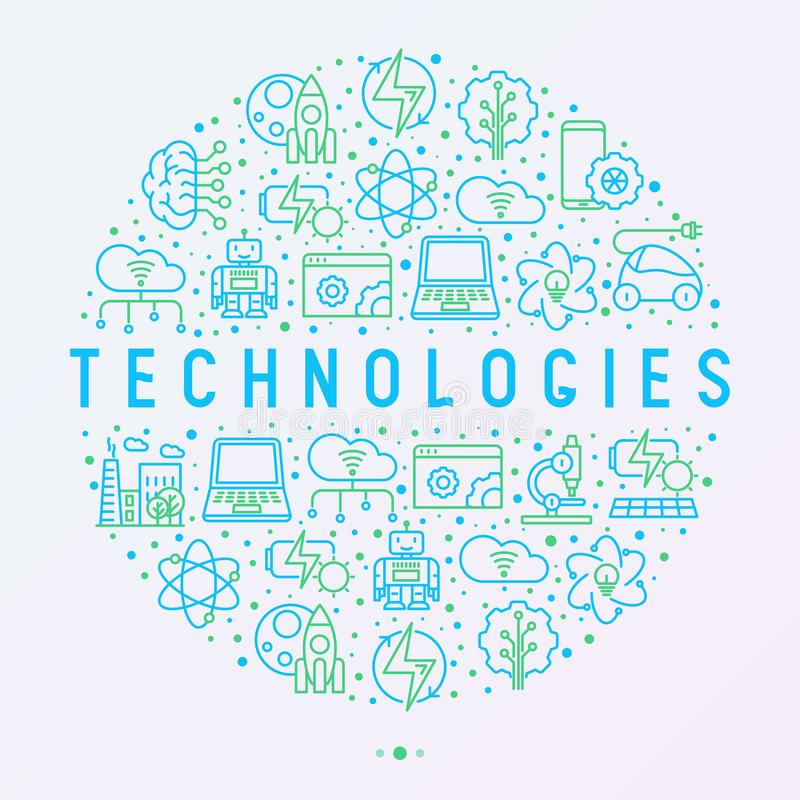 Technologies concept in circle with thin line icon. S of: electric car, rocket, robotics, solar battery, machine intelligence, web development. Vector vector illustration