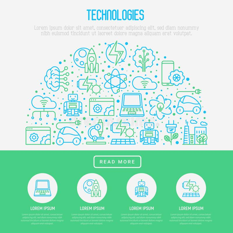 Technologies concept in half circle. With thin line icons of: electric car, rocket, robotics, solar battery, machine intelligence, web development. Vector vector illustration