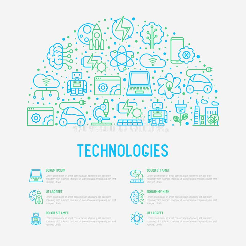 Technologies concept in half circle. With thin line icons of: electric car, rocket, robotics, solar battery, machine intelligence, web development. Vector royalty free illustration