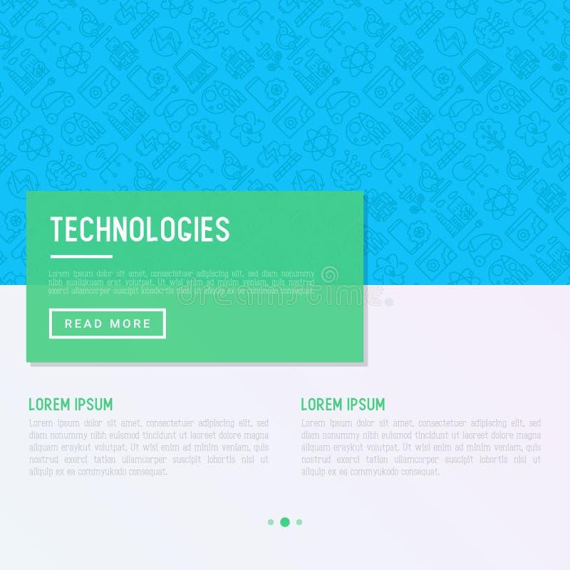 Technologies concept with thin line icons. Of: electic car, rocket, robotics, solar battery, machine intellegence, web development. Vector illustration for vector illustration