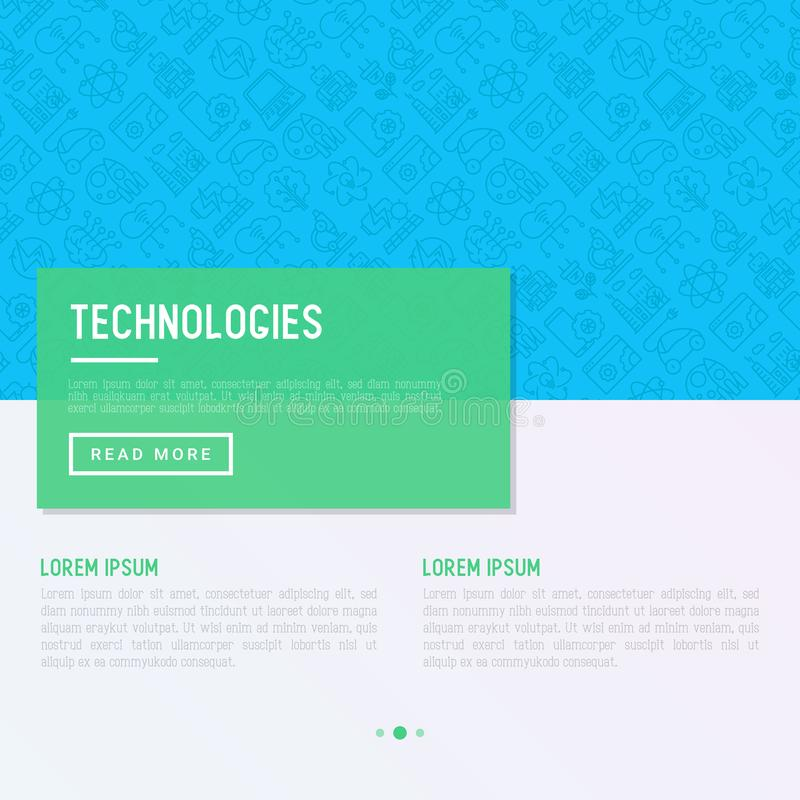 Technologies concept with thin line icons. Of: electic car, rocket, robotics, solar battery, machine intellegence, web development. Vector illustration for royalty free illustration