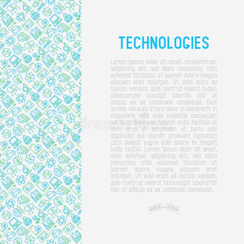 Technologies concept with thin line icons. Of: electric car, rocket, robotics, solar battery, machine intelligence, web development. Vector illustration for royalty free illustration