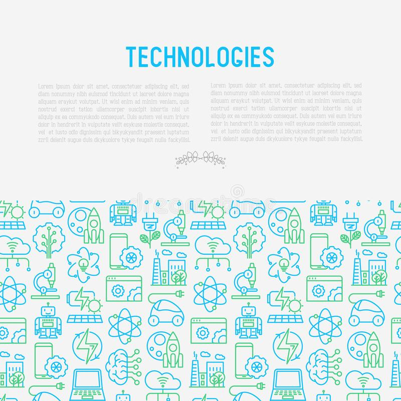 Technologies concept with thin line icons. Of: electric car, rocket, robotics, solar battery, machine intelligence, web development. Vector illustration for stock illustration