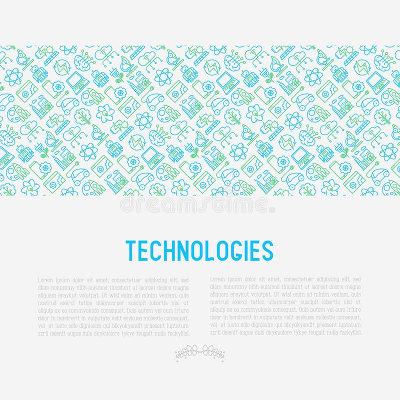 Technologies concept with thin line icons. Of: electric car, rocket, robotics, solar battery, machine intelligence, web development. Vector illustration for vector illustration