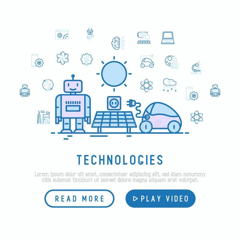 Technologies conceptwith thin line icons. Of: electric car, rocket, robotics, solar battery, machine intelligence, web development. Vector illustration vector illustration