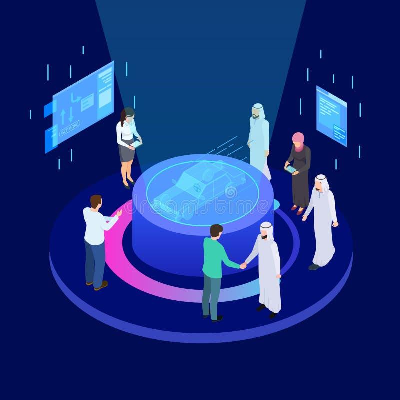 Technologies innovatrices en industrie mécanique Concept isométrique de vecteur d'affaires internationales de développement d'aut illustration de vecteur