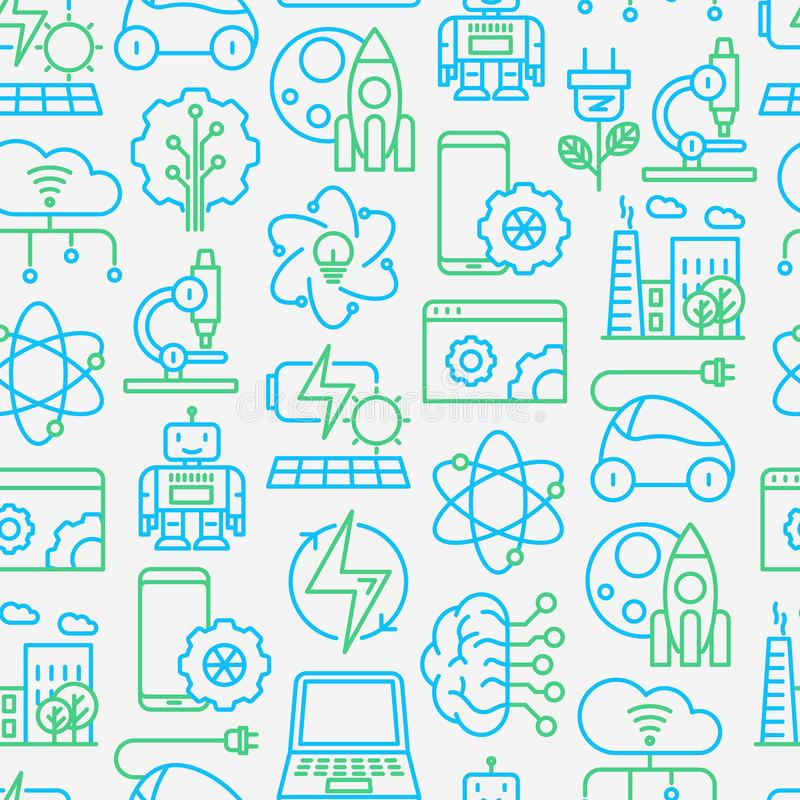 Technologies seamless pattern. With thin line icons of: electric car, rocket, robotics, solar battery, machine intelligence, web development. Vector royalty free illustration