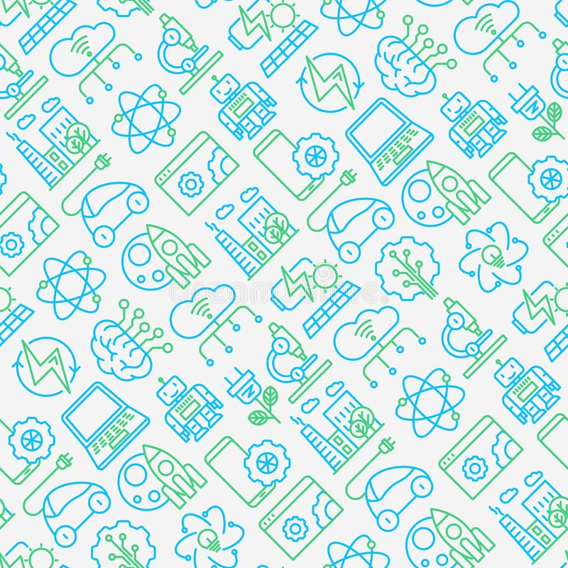 Technologies seamless pattern with thin line icons. Of: electric car, rocket, robotics, solar battery, machine intelligence, web development. Vector royalty free illustration
