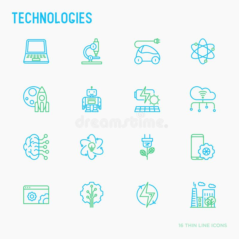 Technologies thin line icons set. Electric car, rocket, robotics, solar battery, machine intelligence, web development. Vector illustration royalty free illustration