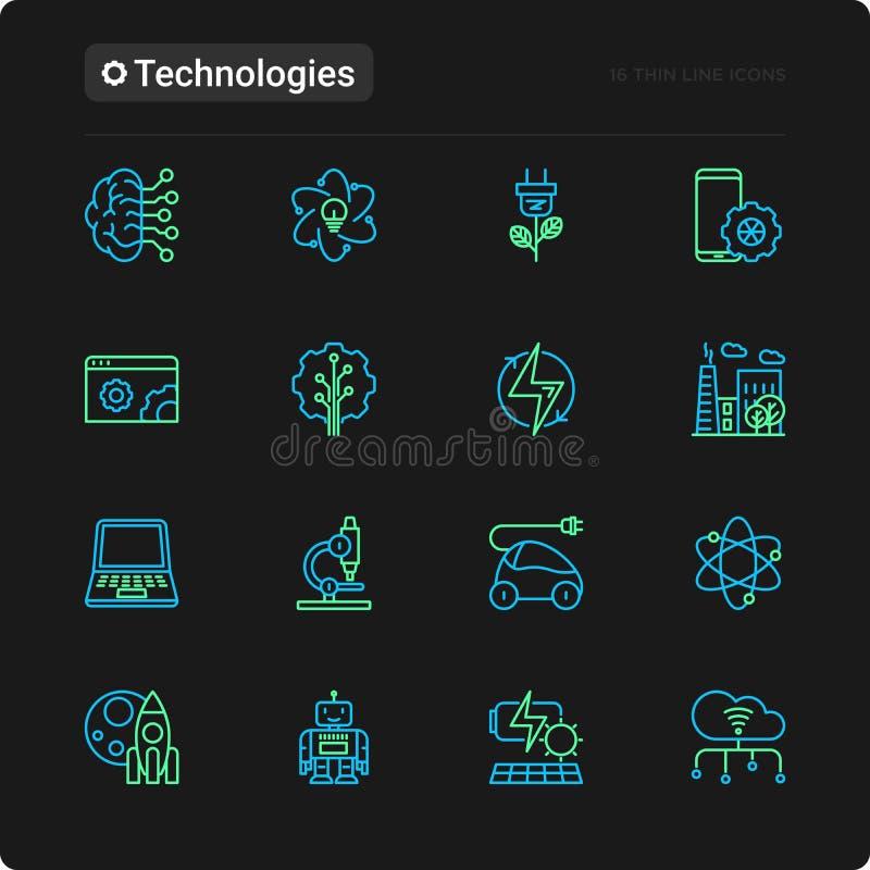Technologies thin line icons set. Electric car, rocket, robotics, solar battery, machine intelligence, web development. Vector illustration for black theme stock illustration