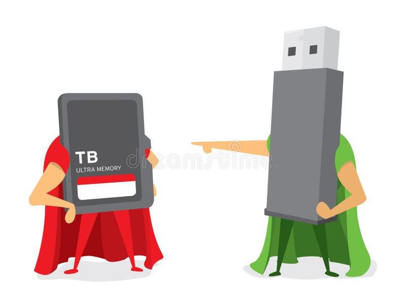 Technologieslag tussen van het flitsaandrijving en geheugen kaarthelden stock illustratie