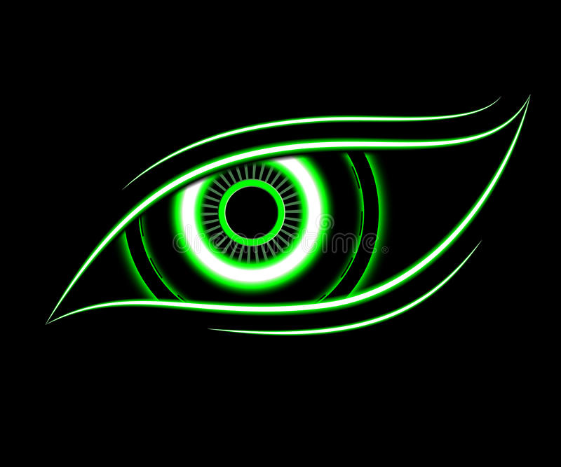 Technologiezusammenfassungshintergrund des grünen Auges lizenzfreie abbildung