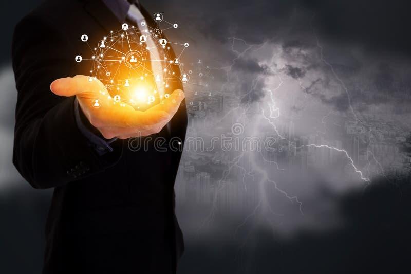Technologii bezprzewodowej sieć komunikacyjna, przemysł 4 (0), Connectio obraz stock