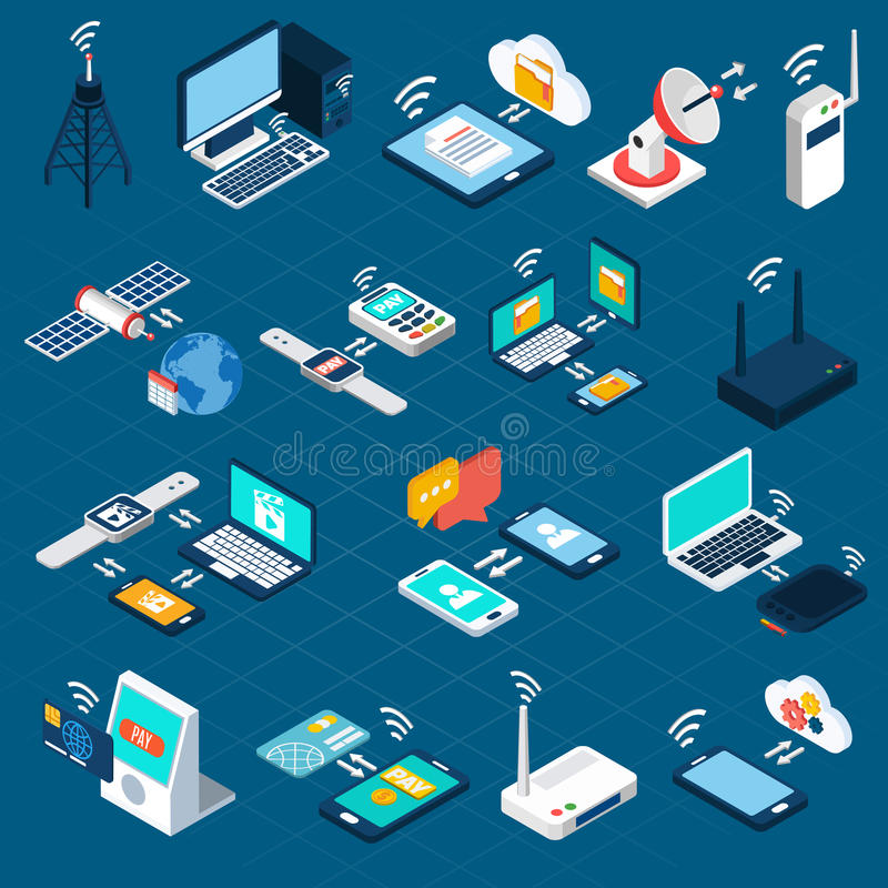 Technologii bezprzewodowych isometric ikony ilustracja wektor