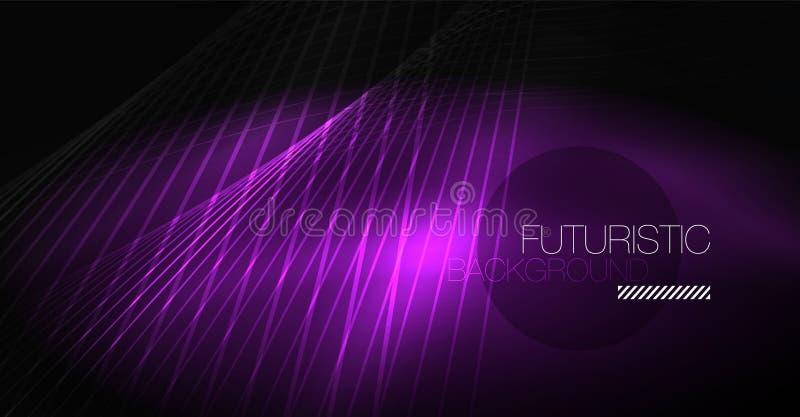 Technologii cyfrowej abstrakcjonistyczny tło - neonowy geometryczny projekt linie abstrakcyjnych lśnią kolorowy tła techno ilustracja wektor