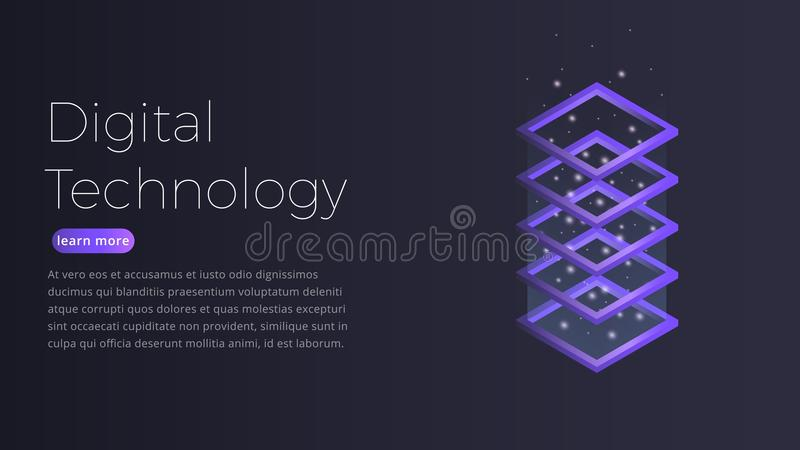Technologii cyfrowej isometric pojęcie Ilustracja futurystyczny datacenter, duży dane - przetwarzający, serweru gościć ilustracja wektor