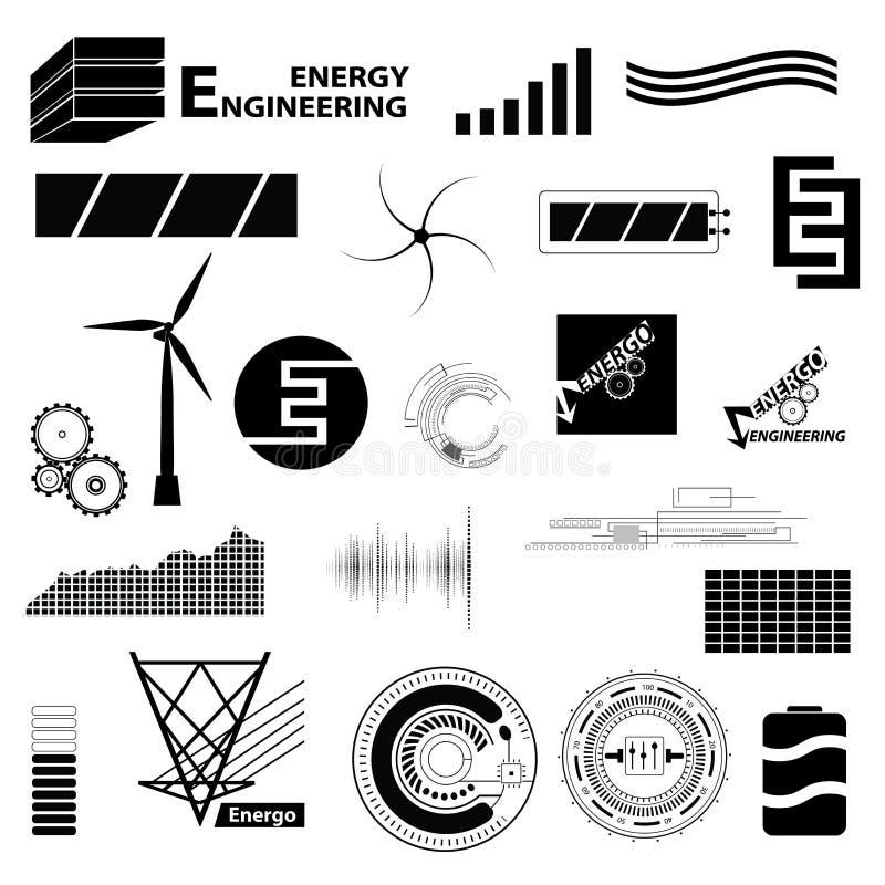 Technologii i energii ustalony różny znak Proste ikony i symbo ilustracji