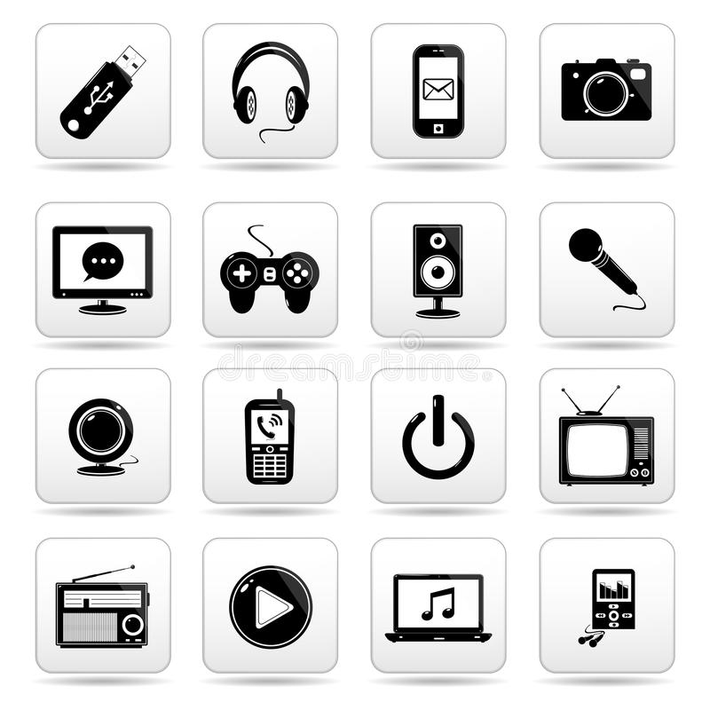 Technologii ikona na kwadratowym czarny i biały guziku c royalty ilustracja